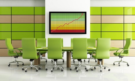 Contemporary bright green meeting room - rendering photo