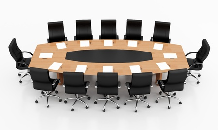 boardroom meeting: conference table and chairs with papers and pens - rendering