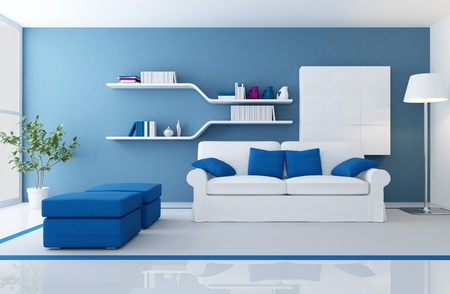 interior design living room: white couch in a blue modern living room - rendering Stock Photo
