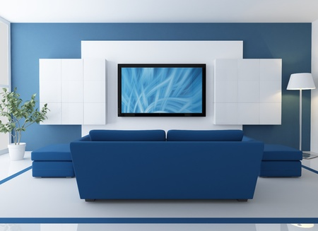 blue and white  lounge with lcd tv - rendering - the image on screen is a my composition photo