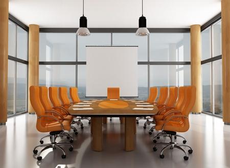 boardroom: wooden and orange meeting room with large windows- rendering - the image on background is a my photo