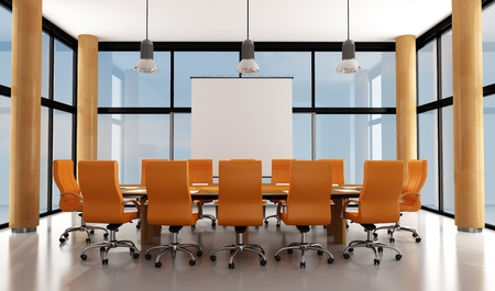 wooden and orange modern meeting room - rendering photo