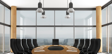 Black and wooden conference room - rendering - the image on background is a my photo photo
