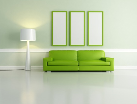 minimalist green living room with empty frame and floor lamp - rendering Stock Photo - 8612442