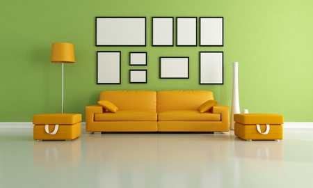 modern living room with orange couch and two ottoman - rendering photo