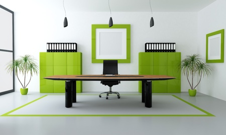 office cabinet: minimalist green and black office space - rendering
