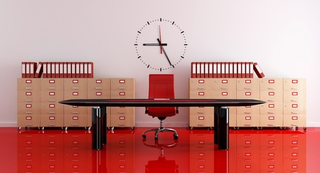 old office: red and black modern office - rendering