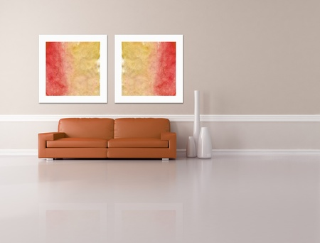 dark orange sofa  two picture and fashion vase in a minimalist lounge - rendering - the art picture on wall are my composition photo
