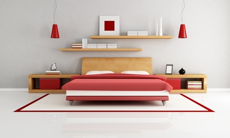 wooden and red minimalist bedroom - rendering Stock Photo - 8652042