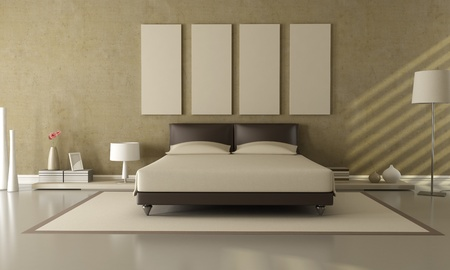 modern lamp: elegant modern brown and beige bedroom Stock Photo