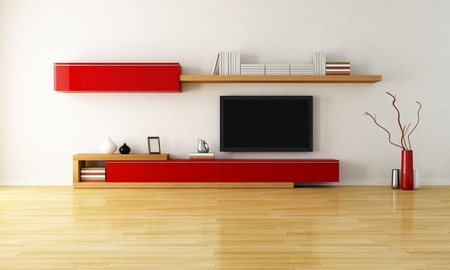 cabinets: empty living room with shelves cabinet and lcd tv - rendering