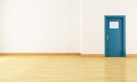 empty room with parquet and blue door-rendering Stock Photo - 8652046