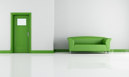 minimalist lounge with green sofa and door - rendering photo