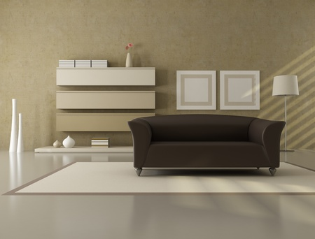 brown and beige contemporary living room - rendering photo