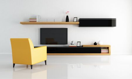 yellow armchair in a minimalist living room with flat tv - rendering photo