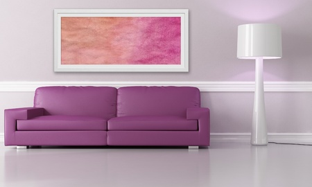 purple couch in modern lounge - the art picture on wall is a my composition photo