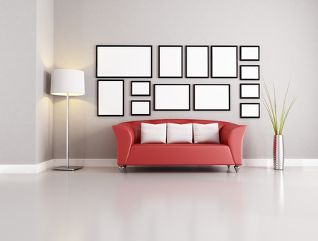red sofa: red sofa in modern living room with empty frames Stock Photo