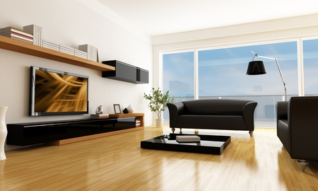 modern living: black and white living room with lcd tv -the art picture on screen is a my composition Stock Photo