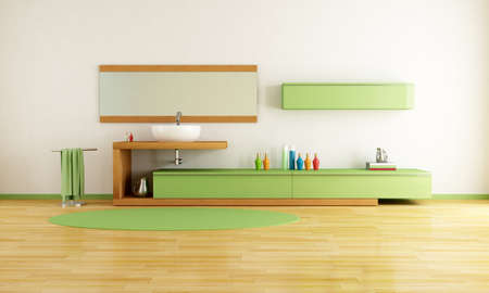 contemporary washstand in a green and wooden bathroom - rendering Stock Photo - 8652051