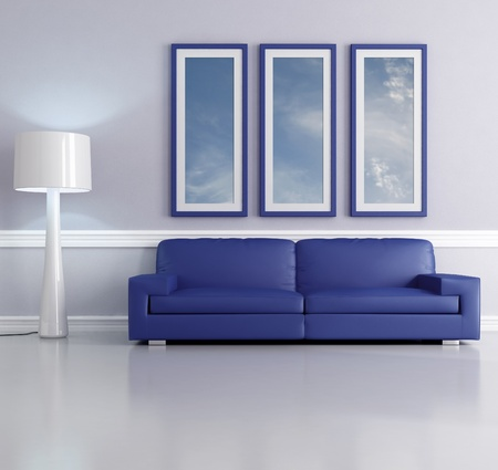blue sofa in a living room with lamp and picture frame - the art picture on wall is a my photo Stock Photo - 8652049