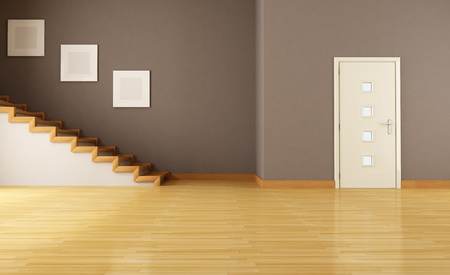 entrance: empty brown  interior with door and wooden staircase - rendering Stock Photo