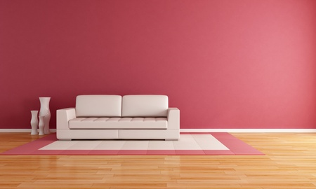living room minimalist: white couch in a modern lounge - rendering
