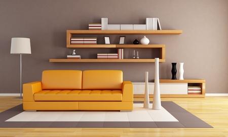 sala de estar: Sala de estar de naranja y marr�n con estanter�a de madera moderno
