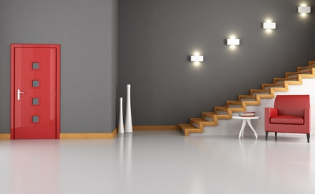 Foyer: empty home foyer with red armchair and modern stair - rendering