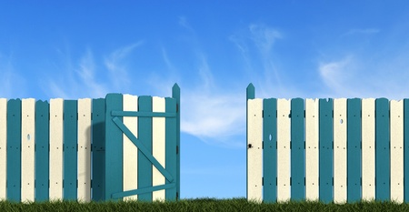 old wooden fence with closed  gate  painted in blue and white  photo
