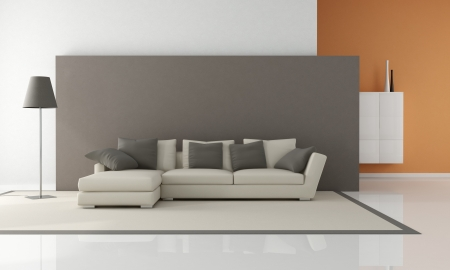 modern couch in a minimalist lounge - rendering Stock Photo - 8770066