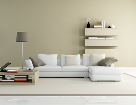 modern sofa: brown and beige modern living room - rendering