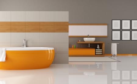 salle de bains: contemporain de bain orange et brun - rendu