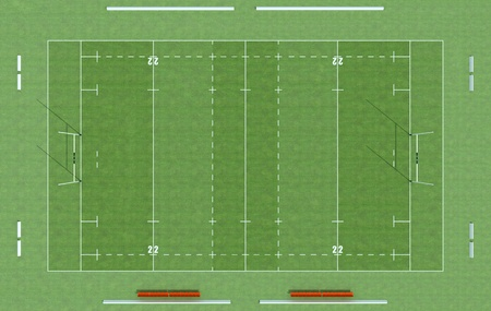 definition high: high definition of a rugby field - rendering