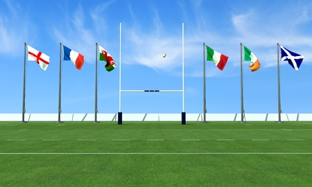 rugby team: rugby field with the flags of the teams in the six nations tournament Stock Photo