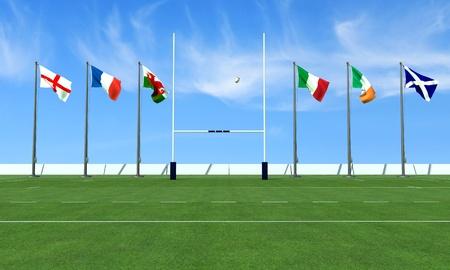 Rugby veld met de vlaggen van de teams in het toernooi zes Naties