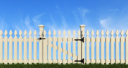 white wooden fence with closed gate on sky background