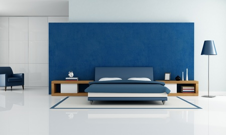 bedrooms: contemporary blue bedroom with white wardrobe and armchair - rendering