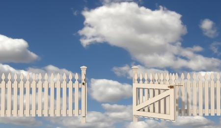 white picket fence: wooden fence with open gate to paradise - rendering