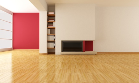 minimalist fireplace in a e empty modern living room - rendering Stock Photo - 8770079