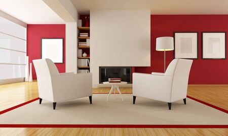 two armchair in front a minimalist fireplace - rendering photo