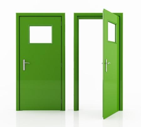 fermer la porte: ouvert et ferm� vert porte isol�e sur blanc - rendu Banque d'images