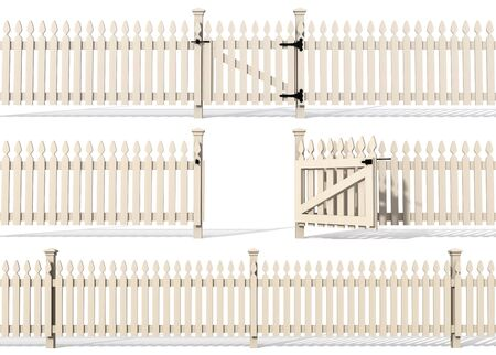 white picket fence: set of wooden fence isolated on white - rendering