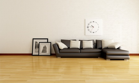minimalist lounge with white brick wall and brown sofa - rendering- the picture in the frame are my photo photo