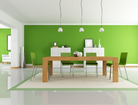 modern dining room with wooden table and green chair - rendering photo