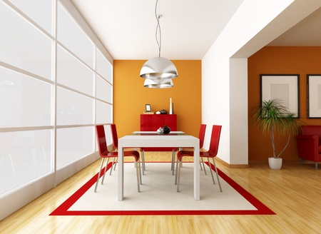modern dining room with great window - rendering Stock Photo - 8874788