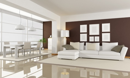modern living room with dining space - rendering photo