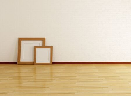 placed: empty room with two wooden frame placed on the floor-rendering