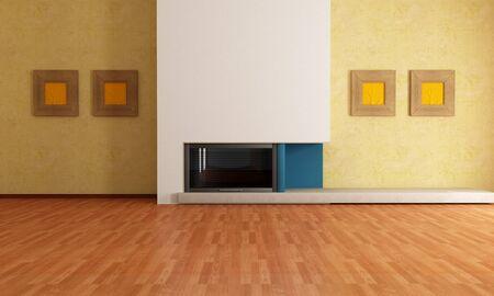 livingroom minimal: empty modern interior with minimalist fireplace - rendering