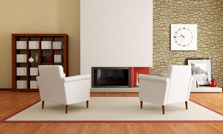 stone fireplace: two white armchair in front a minimalist fireplace and stone wall-the image on wall is amy photo Stock Photo