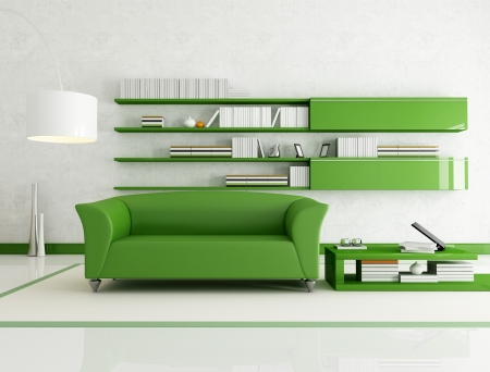 modern sofa: contemporary  living room with fashion green couch - rendering